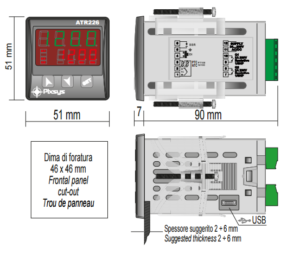 ATR226-temperature-controller-dimmensions